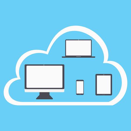 플랫 클라우드 컴퓨팅 배경. 데이터 스토리지 네트워크 기술. 멀티미디어 콘텐츠 및 호스팅 웹 사이트.