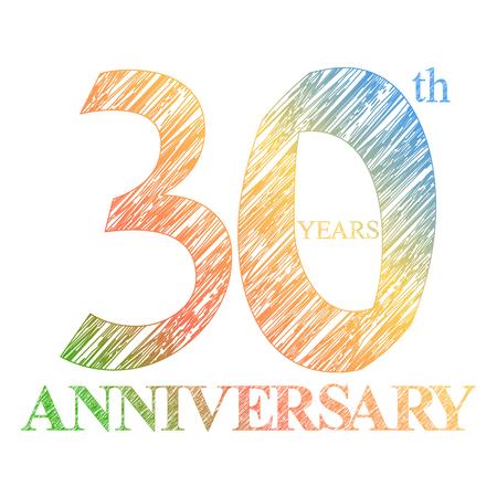 aniversario: Un pintado el logotipo del 30 aniversario con un círculo. Numeros de años