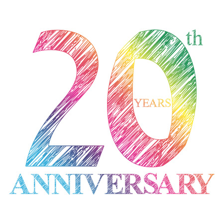 A painted the logo of the 20th anniversary with a circle. Number of years