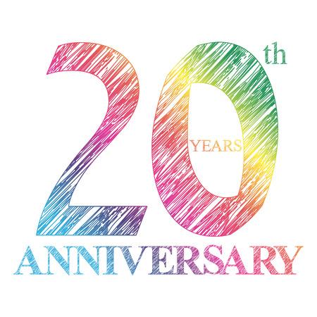 A peint le logo du 20ème anniversaire avec un cercle. Nombre d'années Banque d'images - 47523260