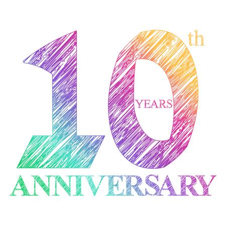 aniversario: Un pintado el logotipo del 10º aniversario con un círculo. Numeros de años