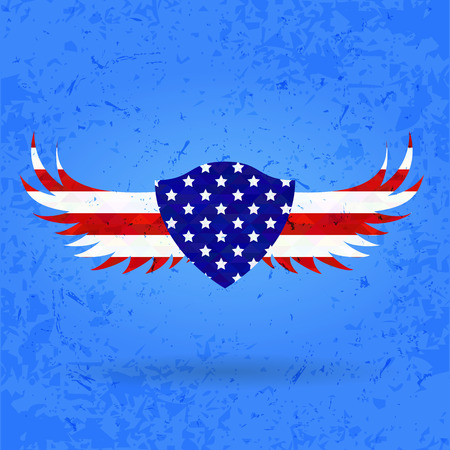 national hero: wings heraldry eagle Creative background abstract patriotism. USA Happy Independence memorial Day Patriot