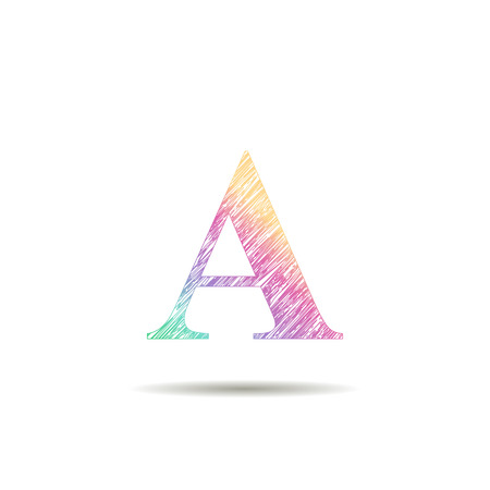그린: A letter logo painted in the colors of the rainbow