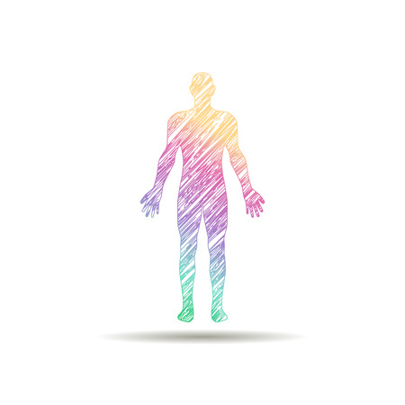 虹の色で描かれたロゴ男
