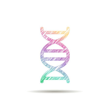 nucleotide: DNA logo is painted in the colors of the rainbow