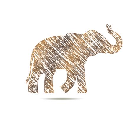 'black: elephant drawn with lines