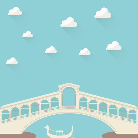 gondolier: Gondolier under the bridge Illustration