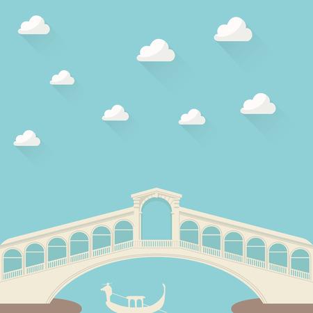 rialto: Gondolier under the bridge Illustration