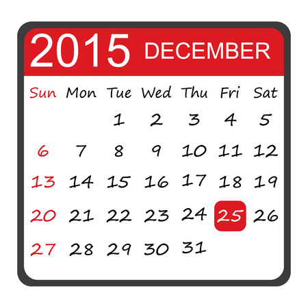 25 december: simple and stylish calendar in December 2015 with red date 25
