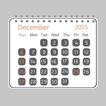 in december: Calendar for December 2015