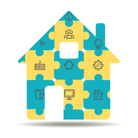 centralized: concept of smart house or smart home technology system with centralized control of lighting, heating, ventilation and air conditioning, security and video surveillance