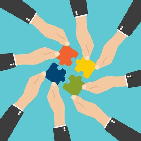 Handen zetten puzzelstukjes in elkaar. Teamwork concept. Plat ontwerp Vector Illustratie
