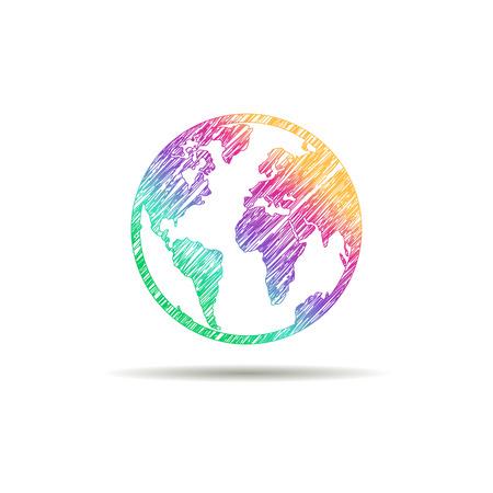 Aarde logo. Globe logo icoon. Abstracte wereld logo template. Om bol vorm en aarde wereldbol symbool, technologie icoon, geometrische wereldbol logo.