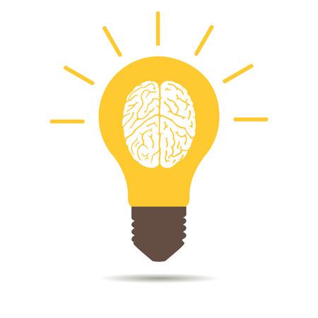 白い背景の上の電球脳アイコン