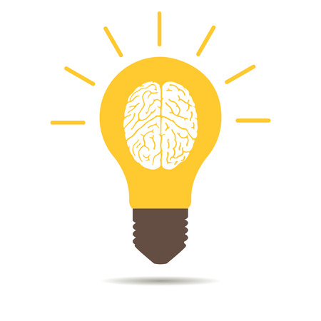 light bulb Brain icon on a white background