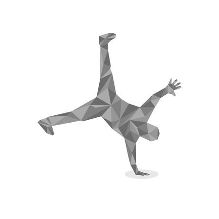 breakdance: illustration in polygonal style of a guy dancing break-dance Illustration