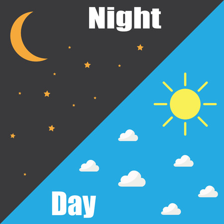 Day and night concept with different weather  イラスト・ベクター素材