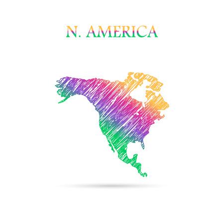 Continent of the World tekent in kleuren