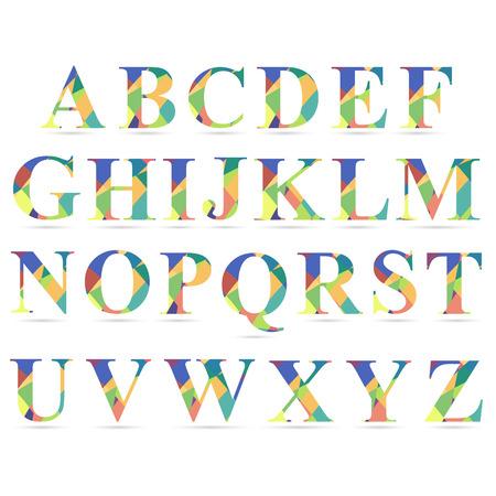 font design: set of creative alphabet of shapes in different colors Illustration