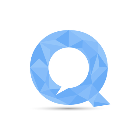 letter Q with bubble communication within. low poly design in triangles Векторная Иллюстрация