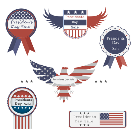 set of stylish, trendy icons on sale in the President's Day