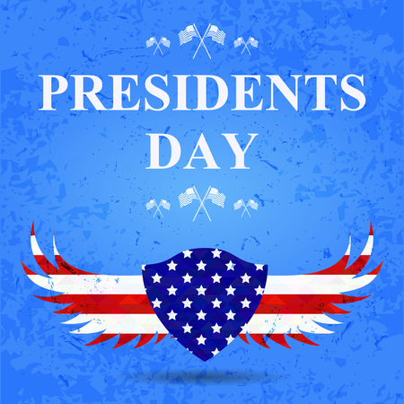 president day: President day background. wings and shield in american flag colors