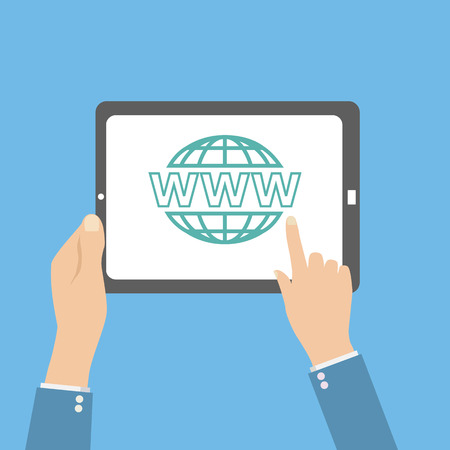 website wide window world write www: human hands hold tablet with web icon Illustration