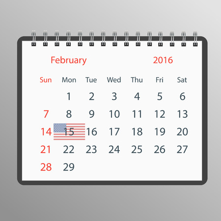president's day: a calendar with the date of the holiday in America. Presidents day Illustration