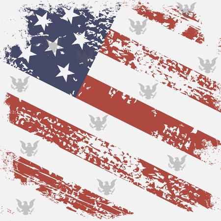 USA retro flag with eagle Stock Illustratie