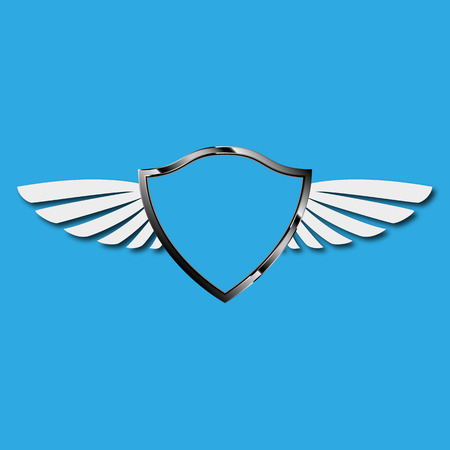 shield with wings: shield wings on blue background