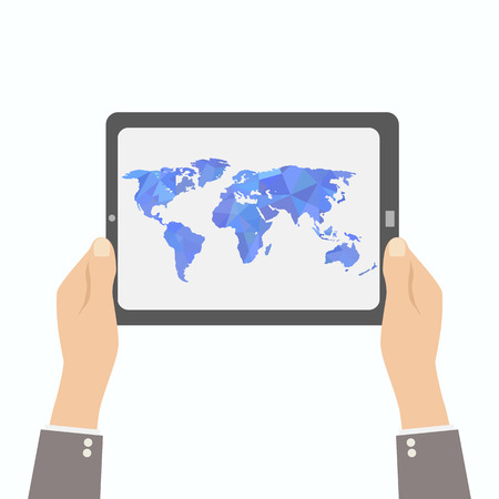 australia map: tablet in hand. polygon world map Illustration