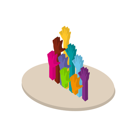 participation: Colors hands up in isometric style