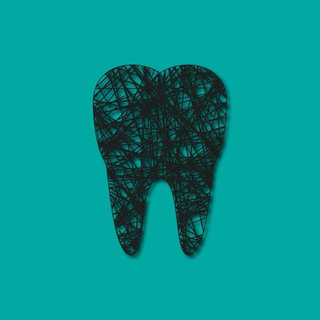 dibujado líneas de dientes negros