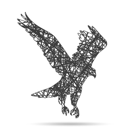 corvus: abstract black raven illustration with the wings