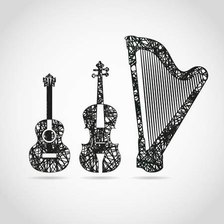 ギター、チェロ、ハープのクールなデザイン  イラスト・ベクター素材