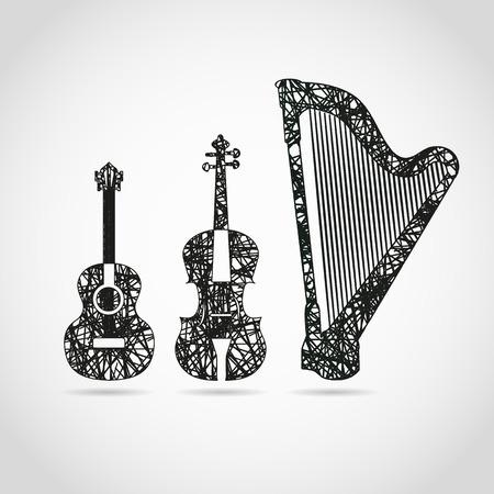 the harp: Guitarra, cello y arpa en diseño fresco Vectores