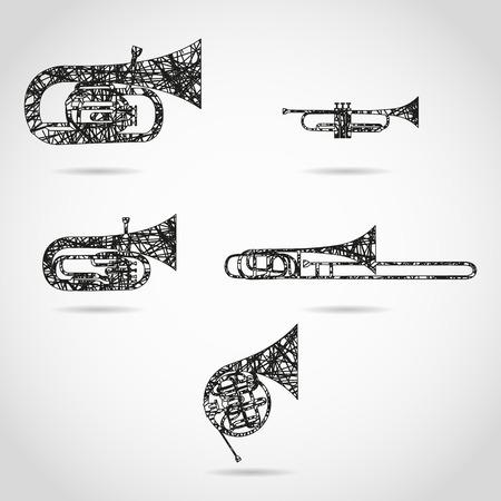 Satz von Blechblasinstrumenten für Orchester. gemalter Entwurf Standard-Bild - 52617415