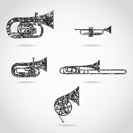set of brass instruments for orchestra. painted design Vectores