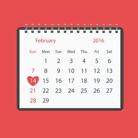 feb: Valentines Day Calendar Feb 14th