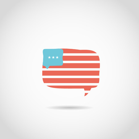 speach: Speach Bubble in american flag Illustration