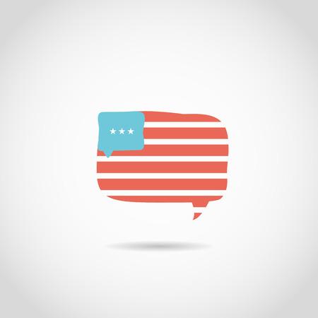 bubble speach: Speach Bubble in american flag Illustration
