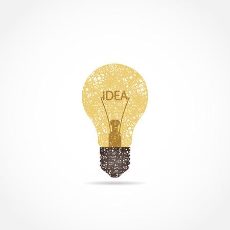 아이디어의 개념 전구 아이콘입니다. 선으로 그렸다. 멋진 로고 일러스트
