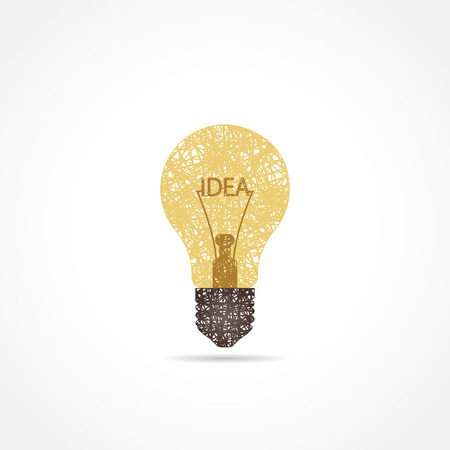 Light bulb icon with concept of idea. painted with lines. cool logo Ilustração