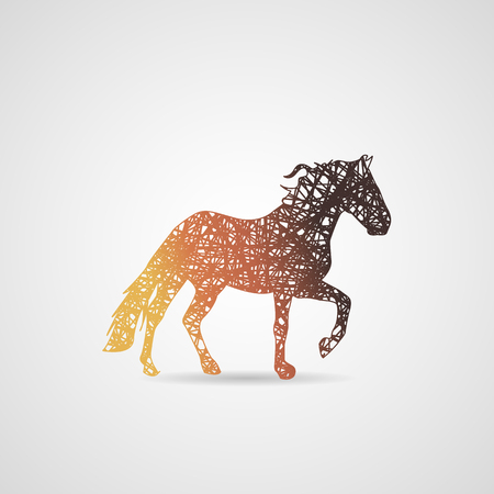 Running horse color silhouette. logo painted by lines
