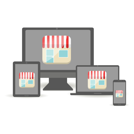 mobile devices: online e-store concept with mobile devices.