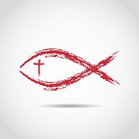 jesus fish icon painted by brush Illustration