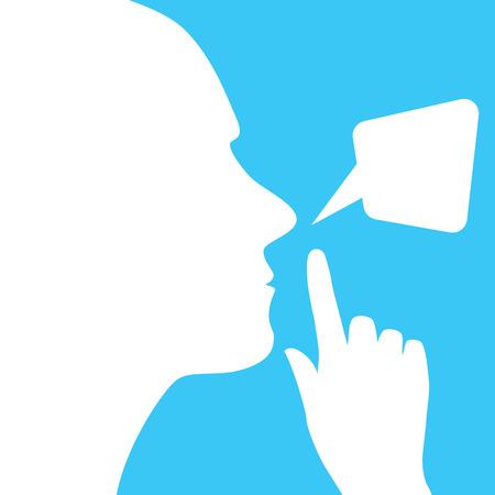 silence: mans face, finger, silence and dialogue bubble
