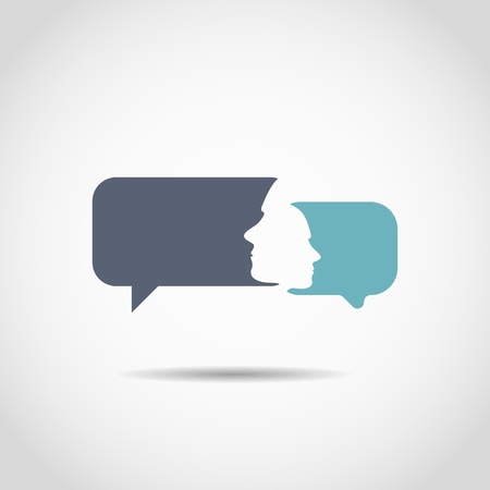 the human face: Conversation bubbles with a human face