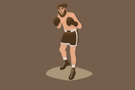 Comic boxer with beard in flat design. cartoon picture