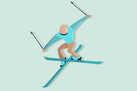Comic skier in jump. Flat sport character